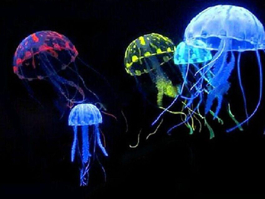 Glowing artificial jellyfish for fish tank aquarium for Aquarium jellyfish decoration