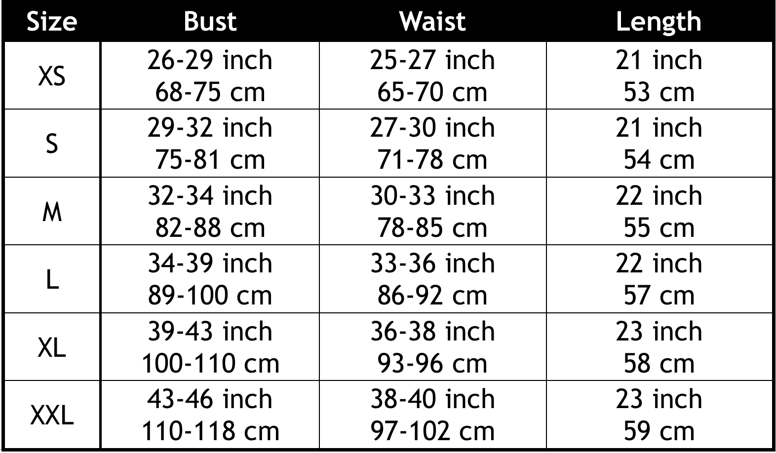 Sauna Shapers Shirt Size Chart