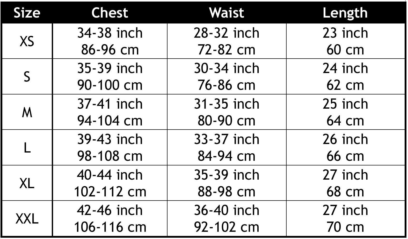 sauna shaper men size chart