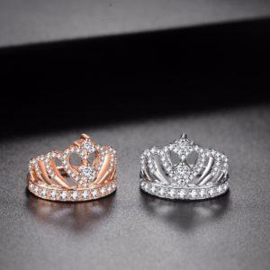 princess crown ring rose gold silver heart