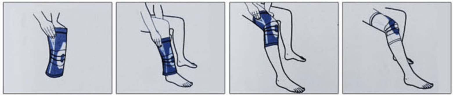 how to put on a knee support brace graphic illustration