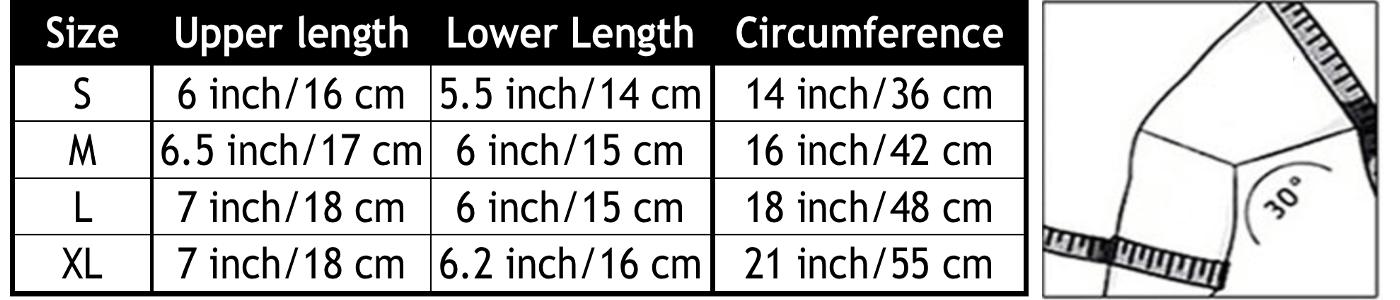 knee brace size chart