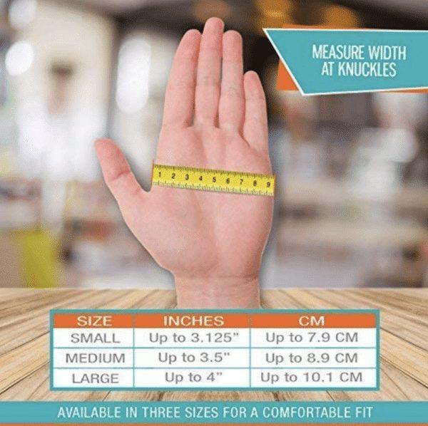 arthritis gloves size chart