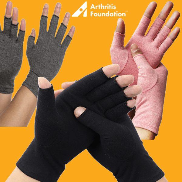 Arthritis gloves 3 different colors black grey pink