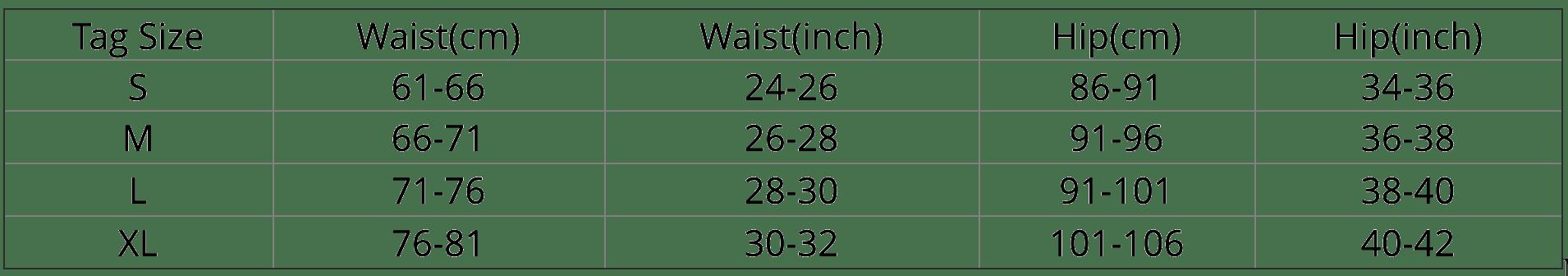 size chart leggings
