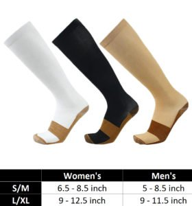 Copper Infused Compression Socks - Size Chart