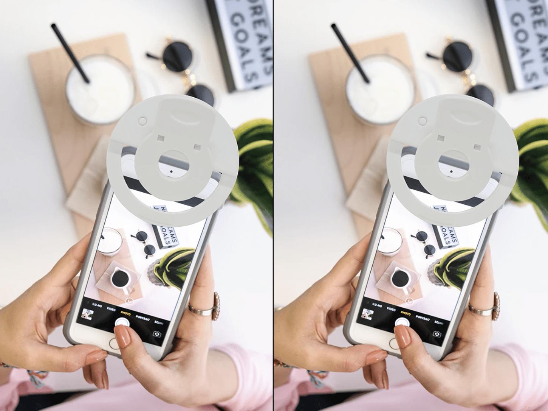 perfekt selfie camera light flat lays product photography