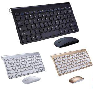 wireless keyboard wireless mouse set black silver gold